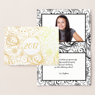 Graduation year thank you note photo + message foil card