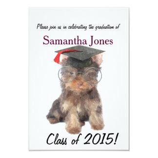 Graduation Yorkshire Terrier dog invitation