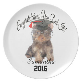 Graduation Yorkshire Terrier personalized plate