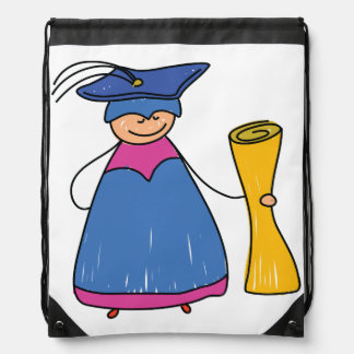 Gradute With A Diploma Drawstring Backpack