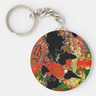 Graffited World Map Basic Round Button Keychain