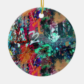 Graffiti and Paint Splatter Ceramic Ornament