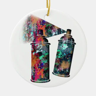 Graffiti and Paint Splatter Spray Cans Ceramic Ornament
