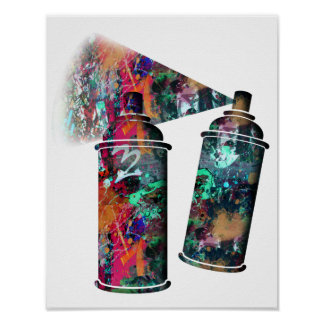 Graffiti and Paint Splatter Spray Cans Poster