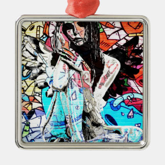 Graffiti angel Silver-Colored square ornament