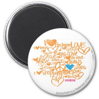 Graffiti Aqua/Orange 2 Inch Round Magnet