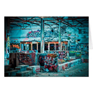 Graffiti Art  Abandoned Building Blank Card
