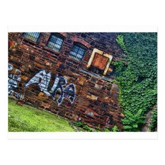 Graffiti Aura Grunge Derelict Stone Building Postcard