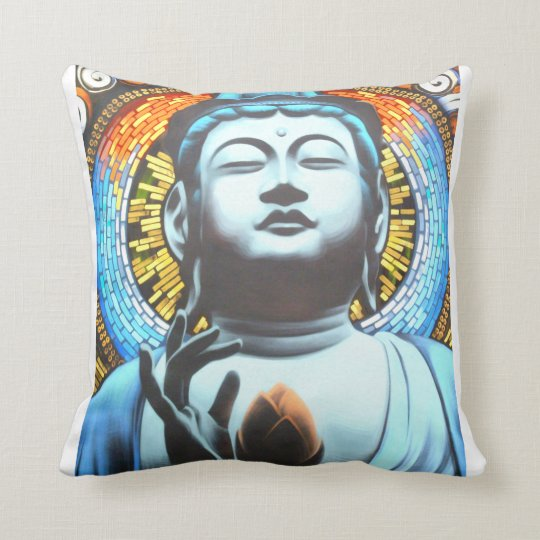 Graffiti Buddha Throw Pillow