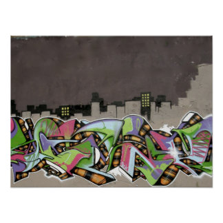 Graffiti - City in Plaid Poster