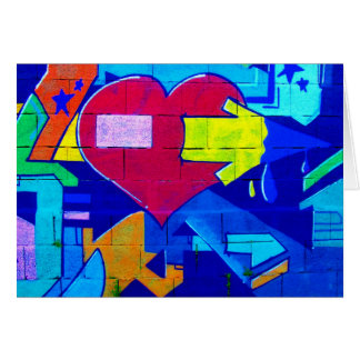 GRAFFITI COLORFUL LOVE HEARTS  GANGSTER BACKGROUND CARD