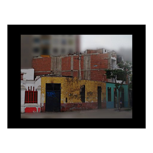 Graffiti Covered Buildings - Photo with Border Posters