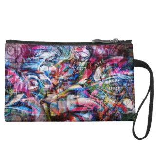 Graffiti design wristlet purse