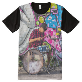 Graffiti Drummer Cool All-Over Printed Tee Shirt