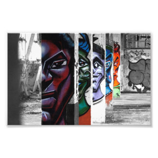 graffiti faces in an abandoned building photo print