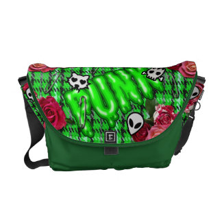 Graffiti green snotty punk and roses tartan emojis commuter bag