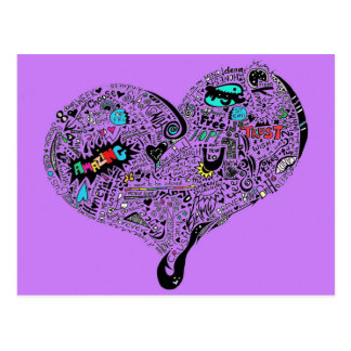 Graffiti Heart postcard purple