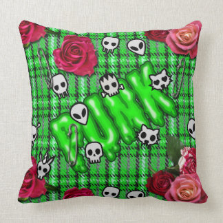 Graffiti inspired green snotty punk tartan emoji throw pillow