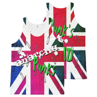 Graffiti inspired Punk's Not Dead Union Jack All-Over-Print Tank Top