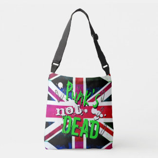 Graffiti inspired Punk's Not Dead Union Jack Crossbody Bag