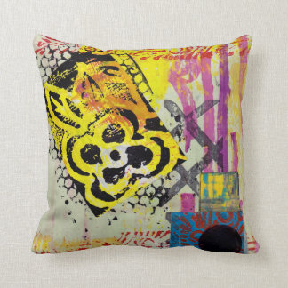 graffiti, mixed media, collage pillow