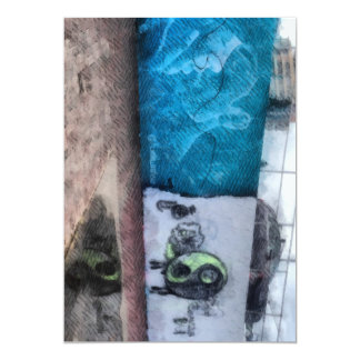 """Graffiti on the wall 5"""" x 7"""" invitation card"""
