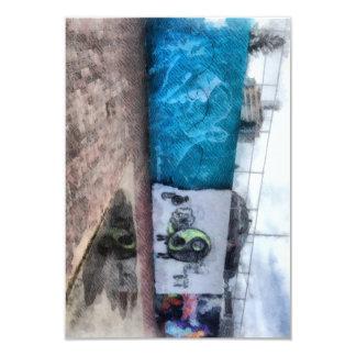"""Graffiti on the wall 3.5"""" x 5"""" invitation card"""
