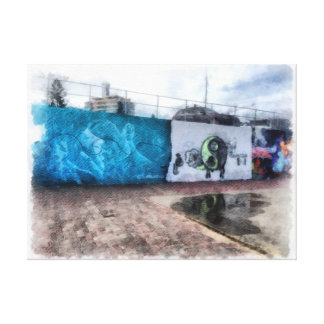 Graffiti on the wall stretched canvas print