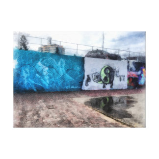 Graffiti on the wall stretched canvas prints
