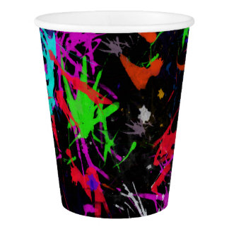 Graffiti Paint Splatter Multicolored Paper Cup