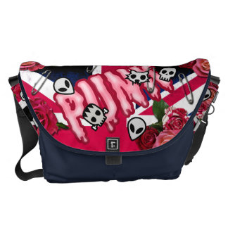 Graffiti pink punk roses Union Jack emojis Commuter Bags