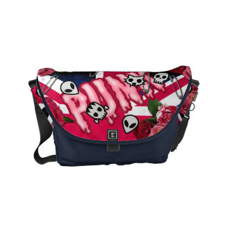 Graffiti pink punk roses Union Jack emojis Messenger Bag