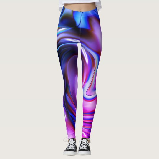 Graffiti Purple, Blue & Pick Abstract Spray Paint Leggings