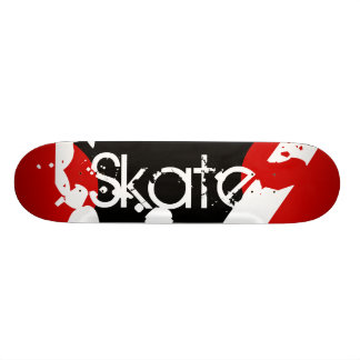 Graffiti Red, Black & White Monogram Skateboard