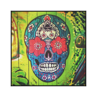 Graffiti SKULL flower patterned skull Canvas Print