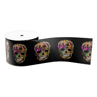 Graffiti skull grosgrain ribbon