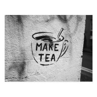 """graffiti stencil art """"make tea"""" slogan postcard"""