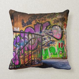 Graffiti Street Art Abandoned Building Staircase Throw Pillow