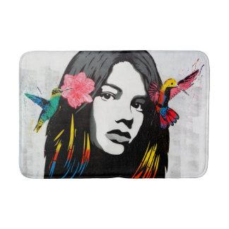 Graffiti Street Art Girl with Birds Bath Mat