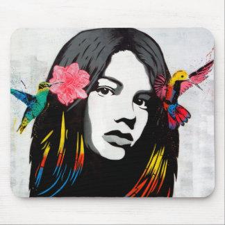 Graffiti Street Art Girl with Birds Mouse Pad