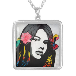Graffiti Street Art Girl with Birds Silver Plated Necklace