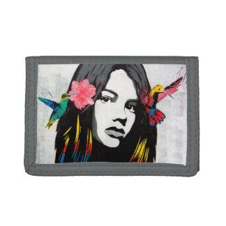 Graffiti Street Art Girl with Birds Trifold Wallets