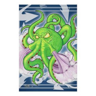 Graffiti Style Green Octopus Poster