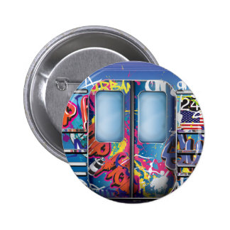 Graffiti Subway Train. 2 Inch Round Button