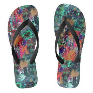 Graffiti Wall and Spray Paint Splatter Flip Flops