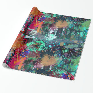 Graffiti Wall and Spray Paint Splatter Wrapping Paper