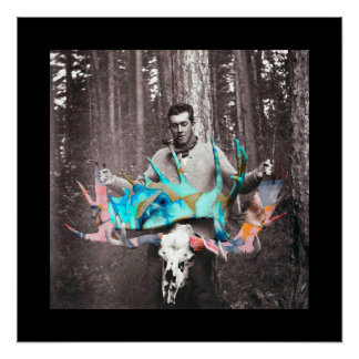 Graffitied Antlers Poster