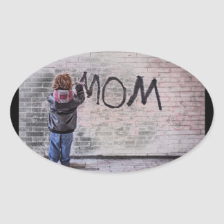 Grafitti For Mom Oval Sticker