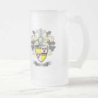 Graham Family Crest Coat of Arms Frosted Glass Beer Mug