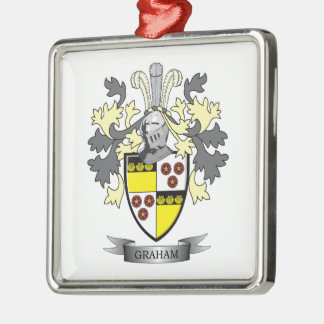 Graham Family Crest Coat of Arms Silver-Colored Square Ornament